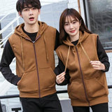 2017 Men Hoodie&Sweatshirts Mens Casual Zipper Sleeveless Hoodies Male Hooded Cardigan Couple Loose Vest Brown Hoodie
