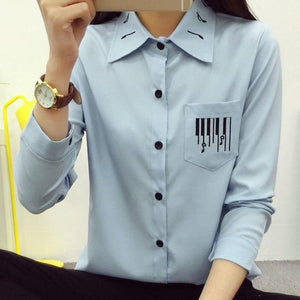 White Blouse Preppy Style Musical Note Embroidery Turn-down Collar White Shirt Long Sleeve Tops Casual S-2XL T6824-noashe