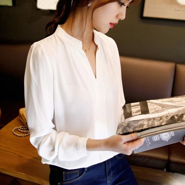 2017 Summer Women Chiffon Blouse Shirts Ladies White Elegant Sexy V-neck Blouse Long Sleeve Shirt Female Office Shirt Plus Size-noashe