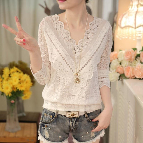 2016 hot sale new arrival Spring and autumn Korean fashion women blouse V neck long sleeve slim lace female shirt 63C 30-noashe