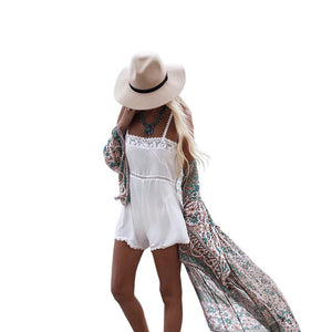 Women Summer Style Chiffon Three Quarter Sleeve Floral Printed kimono Beach Long Sexy Cardigan Cover Up Casual Blusas Tops-noashe