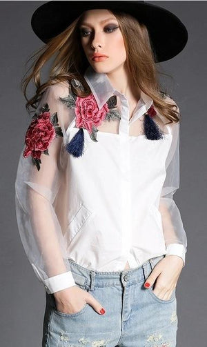 2016 new spring fashion elegant flower embroidery organza shirt camisetas casual women blouses tops 606B 32-noashe