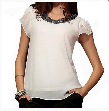 2017 Summer Fashion Chiffon Women tops sleeve shirt women casual blouse beading elegant blouse brief loose tops blusas femininas-noashe