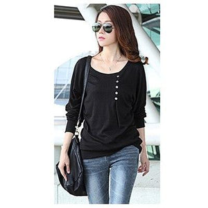 5XL Winter Blouses for Women Top 2017 Buttons Batwing Long Sleeve O-neck Cotton Loose Shirt Plus Size blusas femininas mujer-noashe