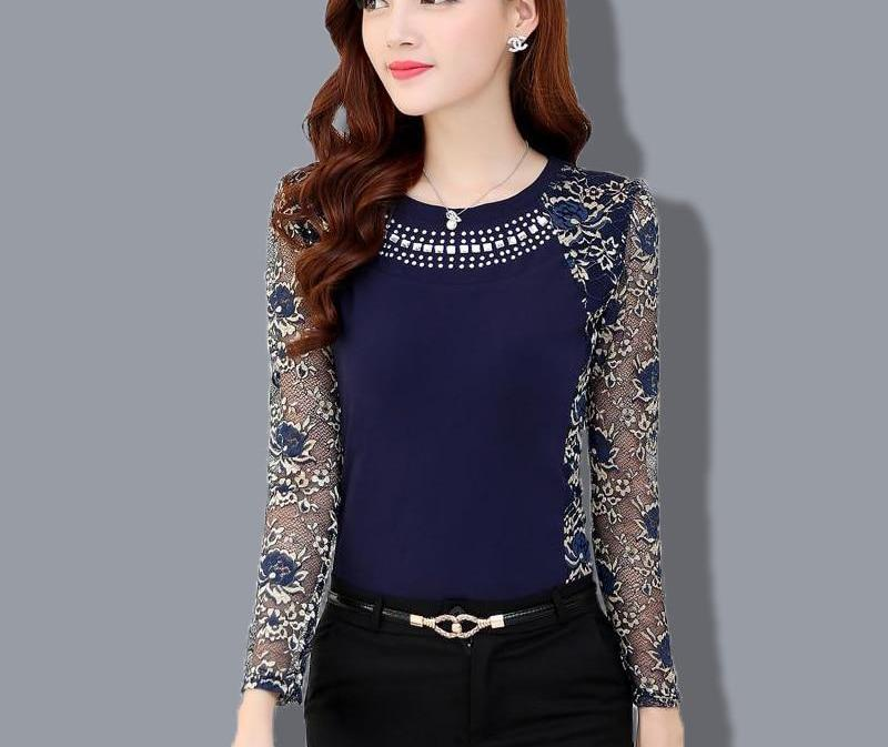 2015 Autumn Slim Patchwork ladies Plus size lace blouse shirt Women long sleeve Lace Tops Women clothing 901G 40-noashe