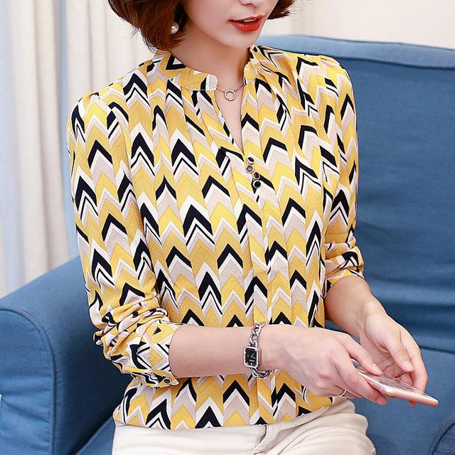2016 New Work Wear Office Shirt Women Tops Yellow Floral Bow Tie Pattern Geometric Print Blouse Women Clothing Autumn 00A 30-noashe