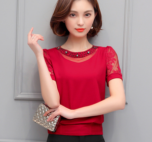 hot sale 2017 Summer New Fashion Sweet Hollow Chiffon Shirt Short Sleeve Stitching Lace Blouse Female Sexy Women Tops 81H-A9 30-noashe