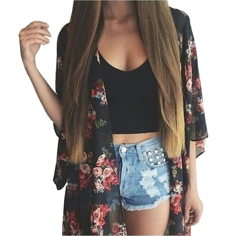New Fashion Women's Vintage Flower Printing Chiffon Blouse Shirt Women Loose Chiffon Cardigan Kimono-noashe