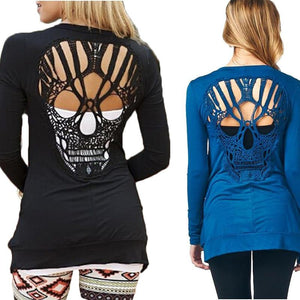Skull Lace Cardigan Hollow Out Long Sleeve Knitted Summer Blouse Shirt Plus Size 3XL-noashe