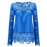 2017 Plus Size 7XL Ladies Blusas Women's Long Sleeve Chiffon Lace Crochet Tops Blouses Women Clothing Feminine Blouse 21 colors