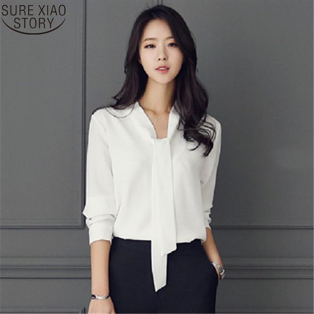 Spring Women Clothing Long-sleeved 2017 New Bow Tie Blusas Korean Loose Chiffon Shirt Women's Blouse 699C 30-noashe