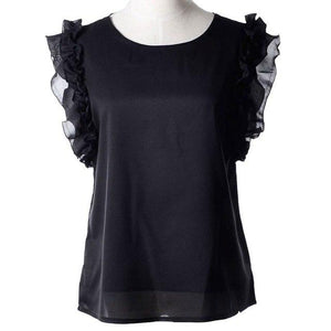Camisas Femininas 2017 Women Blouses Loose Casual Chiffon Vest Butterfly Sleeve Summer Shirt Tank Tops Blouse Female Plus Size-noashe