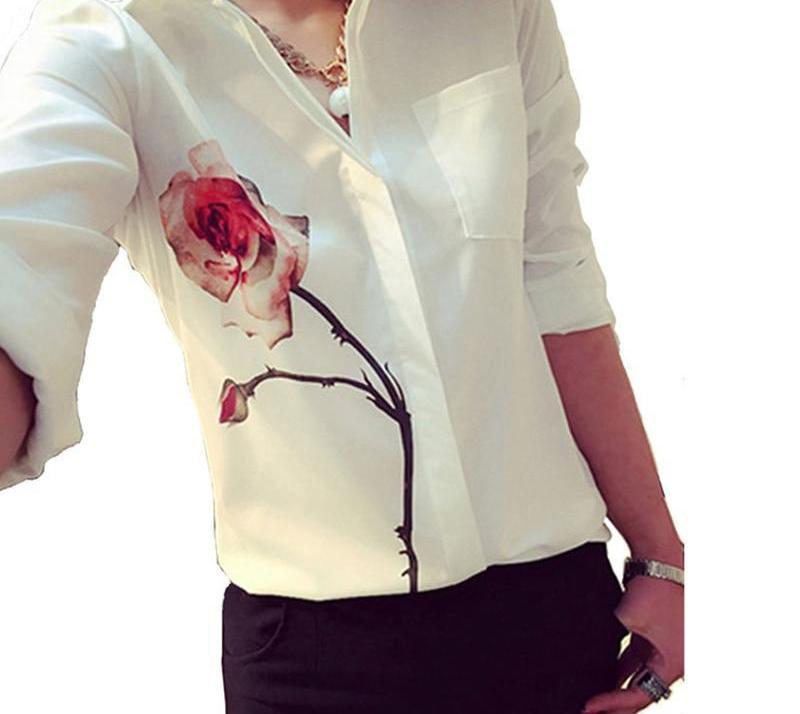 Gtpdpllt 2017 Autumn Rose Flower Printed Long Sleeve Blouse Women Turn Down Collar Chiffon Shirts White Women Clothes-noashe