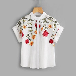 Dotfashion Floral Embroidered Roll-up Cuff Blouse Summer Band Collar Cap Sleeve Tops Casual Batwing Sleeve Button Blouse-noashe