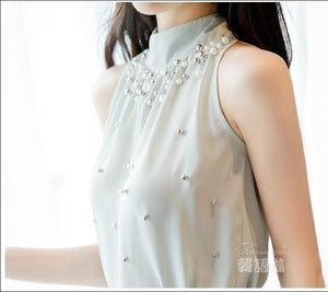2017 New Women Beading Chiffon Blouse Korean Fashion Sleeveless Women Turtleneck Chiffon Blouse Shirt Women Top S M L XL835I 42-noashe