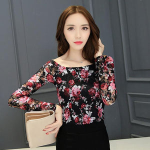 Autumn 2016 Sexy Floral Print Women Tops Red Black Blue Backless Long Sleeve Korean Fashion Off Shoulder Lace Blouse S2467-noashe
