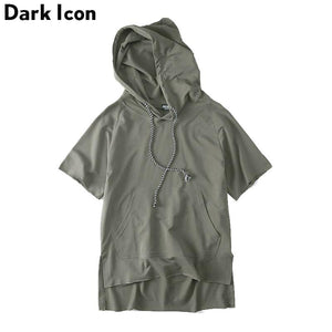 Off Shoulder Blank Color Mens Sweatshirts and Hoodies Short Sleeve Loose Style Solid Color Hip Hop Hoodie Black ,Green-noashe