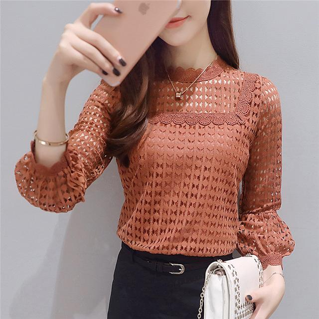 2017 Spring and Autumn Korean Slim Lace Women Shirt Female Long Sleeve New Arrival Hot Sale Casual Blouse Plus Size 16J 30-noashe