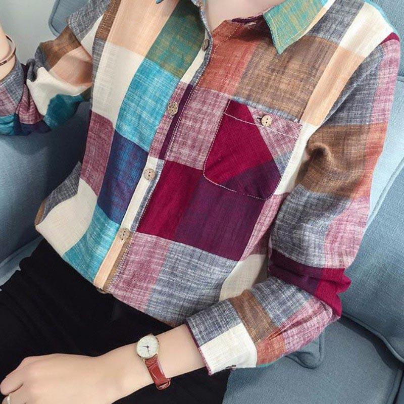 Autumn Female Casual Cotton Long Sleeve Plaid Shirt Women Slim Blouse Tops Ladies Office Bodycon Blusas Chemise Femme-noashe