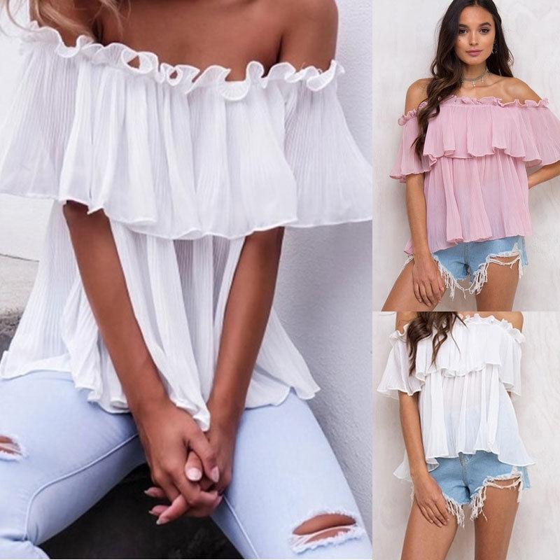 New Women Off Shoulder Tops Short Sleeve Shirt Casual Chiffion Blouse Loose shirt Summer Women Blouse Clothes-noashe
