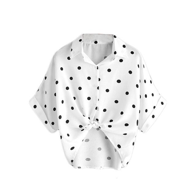 ROMWE Ladies Summer Top White Polka Dot Knot Front Cuffed Blouse Summer Shirts Women Lapel Short Sleeve Casual Blouse-noashe
