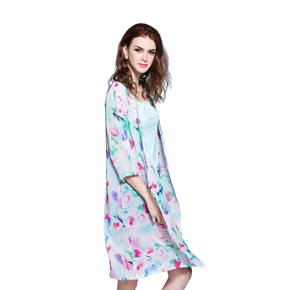 Women Summer Style Chiffon Half Sleeve Vintage Floral Printed kimono Beach Cover Up Cardigan Casual Blusas Tops-noashe