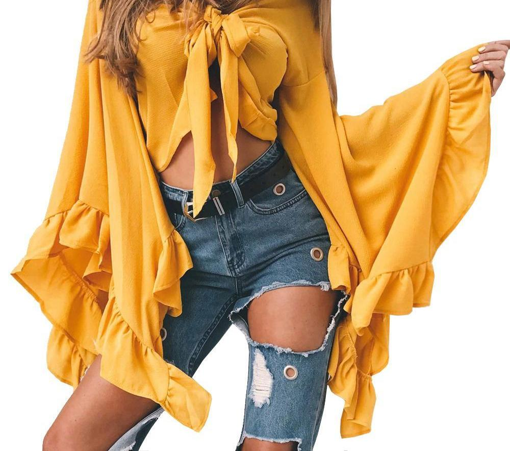 ForeFair Trendy Irregular Long Ruffles Sleeve Crop Top Sexy Lace-Up V-neck Chiffon Blouse Plus Size Adjustable Bow Women Tops-noashe