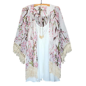 2017 Summer Harajuku Style Women Floral Printed Chiffon Blouses Cape Kimono Cardigan Coat Knits Shirts Cover Up Tops-noashe