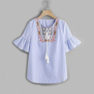 Dotfashion Tasseled Tie Embroidered Yoke Fluted Sleeve Blouse Summer Tie Neck Half Sleeve Boho Blouse Ladies Blue Tops-noashe