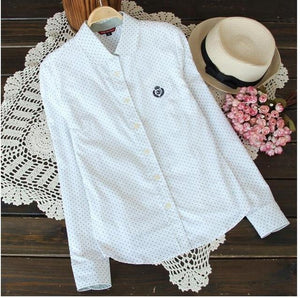 New 2017 Women spring auturn 100% Cotton blouse polka dot casual Lapel Shirt Colorful Long Sleeve shirts Ladies Tops Fashion-noashe