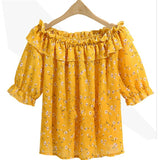2017 Korean Fashion Spring Autumn for Women Chiffon Blouse plus size 5XL Off Shoulder Ruffled Sleeve Yellow Shirt Top T76002A-noashe