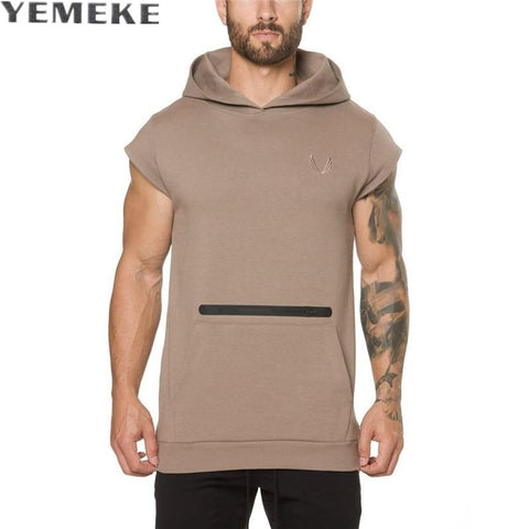 YEMEKE New 2017 Fashion Decoration Solid Color Men Vest Casual Slim Soft Hooded Vest Male Hot Sale black khaki Vests