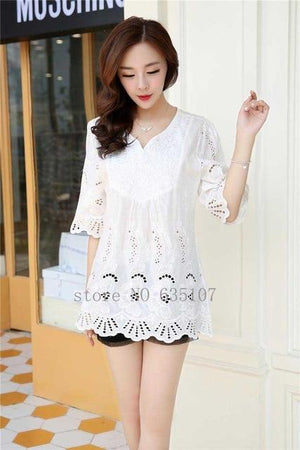 Casual 2017 summer Women Blouses vintage Embroidery Shirt Short Sleeve blouse ladies floral tops womens clothing plus size-noashe