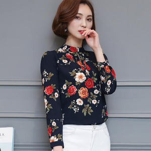 2017 summer new fashion Korean version of the collar collar Slim printed chiffon shirt shirt short-sleeved shirt tops 67H 30-noashe