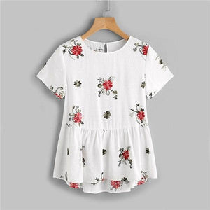 Dotfashion Flower Embroidered Keyhole Back Smock Top Ladies White Short Sleeve Casual Blouse Summer Button Tiered Blouse-noashe