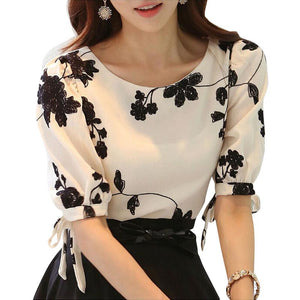 Embroidered Shirt Women Summer Tops Floral Black White Slim Chiffon Blouse Brand Quality Plus Size Casual Bow Half Sleeve Shirt-noashe