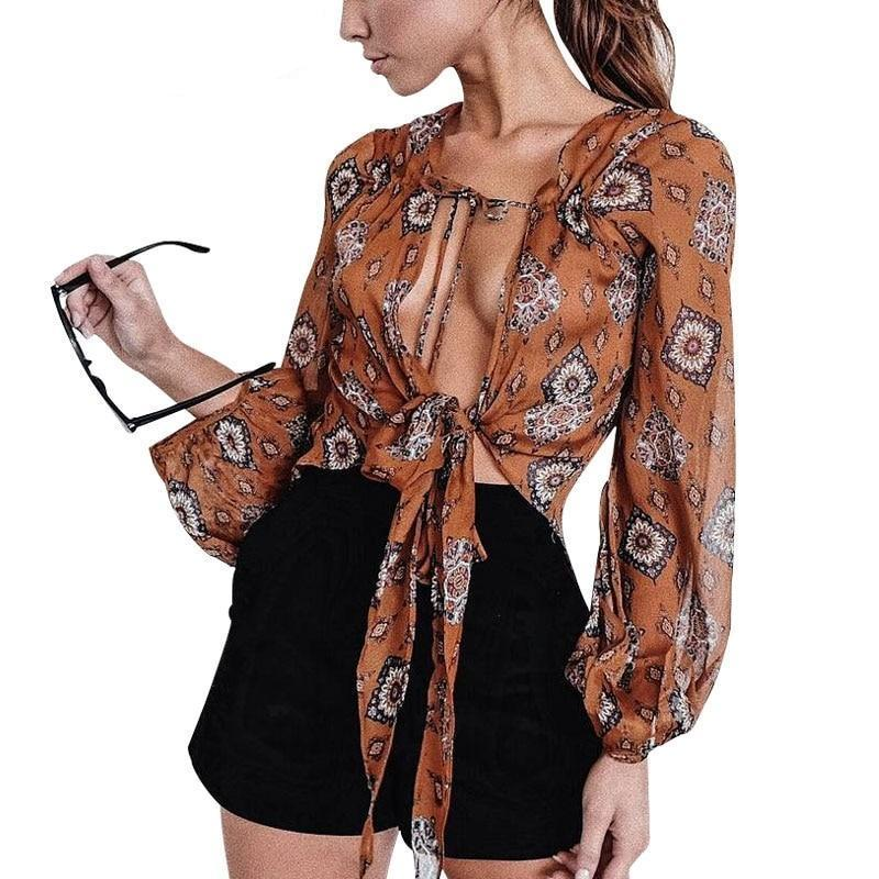 BerryGo Print v neck chiffon blouse shirt Women summer long sleeve crop top blouse 2017 Sexy streetwear bow female blouse blusas-noashe