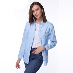 Dioufond Autumn White Blouse Shirt Long Sleeve Solid Cotton Shirt Women Tops Pockets Casual Camisa Feminina S-3XL 2017-noashe