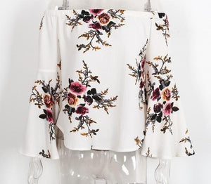 Simplee Off shoulder chiffon blouse shirt women Sexy summer white print blouse Casual flare sleeve cool blouse-noashe