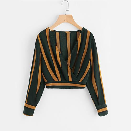 ROMWE Yellow Stripe Crop Tops Wrap V Neckline Ruched Blouse Fall 2017 Fashion Women Elegant Button Long Sleeve Sexy Blouse-noashe