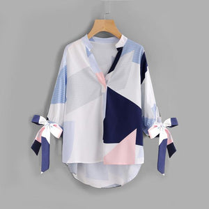 Sheinside V Neck Patchwork Bow Abstract Geometric Print Blouse Tie Cuff High Low Half Sleeve Top 2017 Women's Casual Fall Blouse-noashe