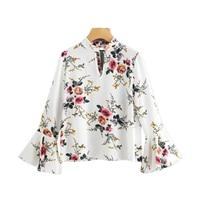 Sheinside Floral Print V Neck Flare Sleeve Double Keyhole Blouse Band Collar Long Sleeve Sexy Ruffle Top 2017 Elegant Blouse-noashe