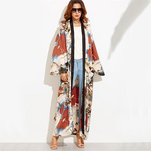 COLROVIE Calico Print Maxi Kimono Long Sleeve Vintage Blouse Women 2017 Autumn Loose Tops Contrast Trim Elegant Belted Kimono-noashe