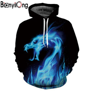 BIANYILONG Hot Fashion Hoodies Men/women 3d Sweatshirts Print Fire Dragon Hooded Hoodies Snake Sweatshirts Unisex Pullovers-noashe