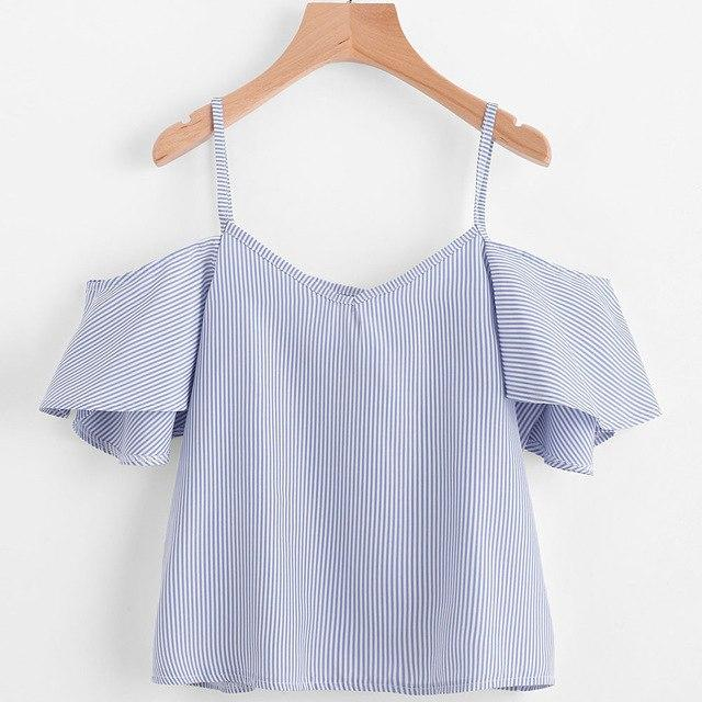 Fairies tell Women Summer Pinstripe Broadcloth Striped Cold Shoulder Top Short Sleeve Nylon Blouse blusas mujer verano 555-noashe