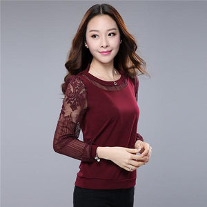 5XL 6XL Lace Blouse Shirts Women Plus Size Casual Chiffon Blouses Woman Clothing Long Sleeve Ladies Top Bottoming Shirt 2017-noashe