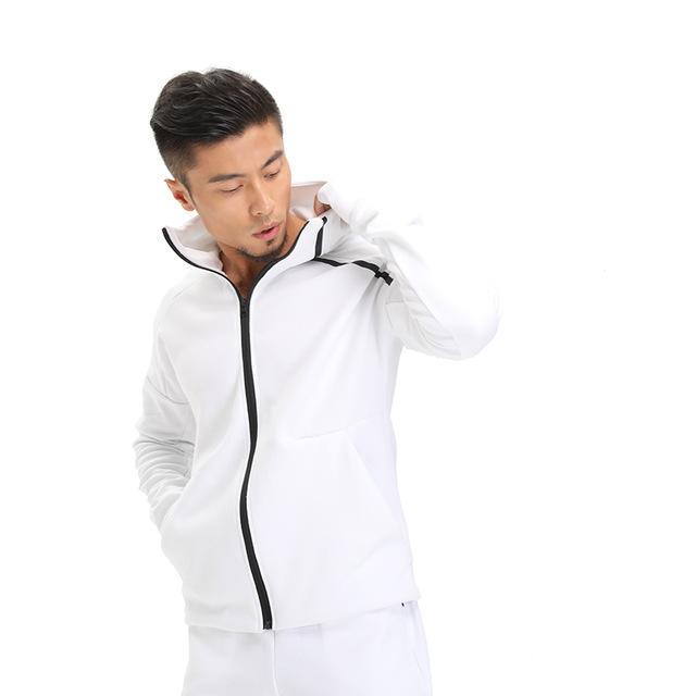 NANSHA Brand Mens Hoodies Fitness Long Sleeve Bodybulding Zipper Sweatshirts Gyms Muscle Fit Clothes Hooded Jackets-noashe