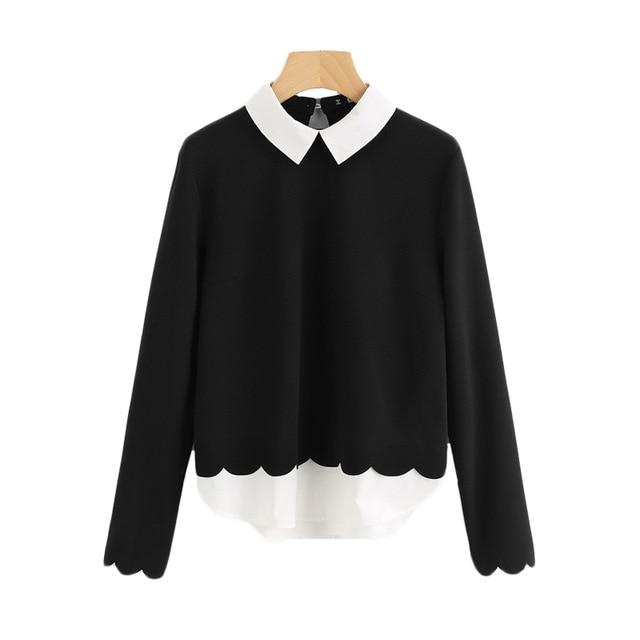 Sheinside Contrast Collar And Hem Scalloped Women Blouses 2017 Color Block Long Sleeve Elegant Tops Ladies Work Blouse-noashe