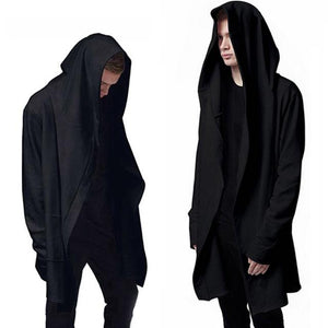 Aonibeier Men Hooded Sweatshirts With Black Gown Hip Hop Mantle Hoodies Fashion Jacket long Sleeves Cloak Man's Coats Outwear-noashe