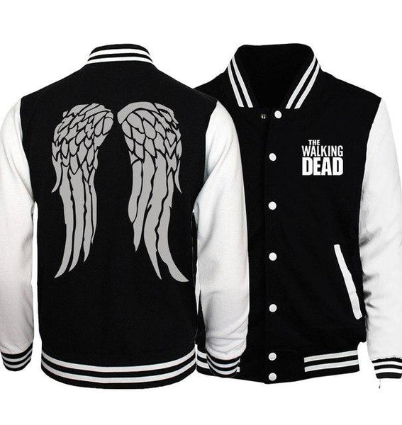 2017 spring fall man bodybuilding baseball jackets funny Zombie Daryl Dixon Wings men women unisex sweatshirt fitness tracksuits-noashe